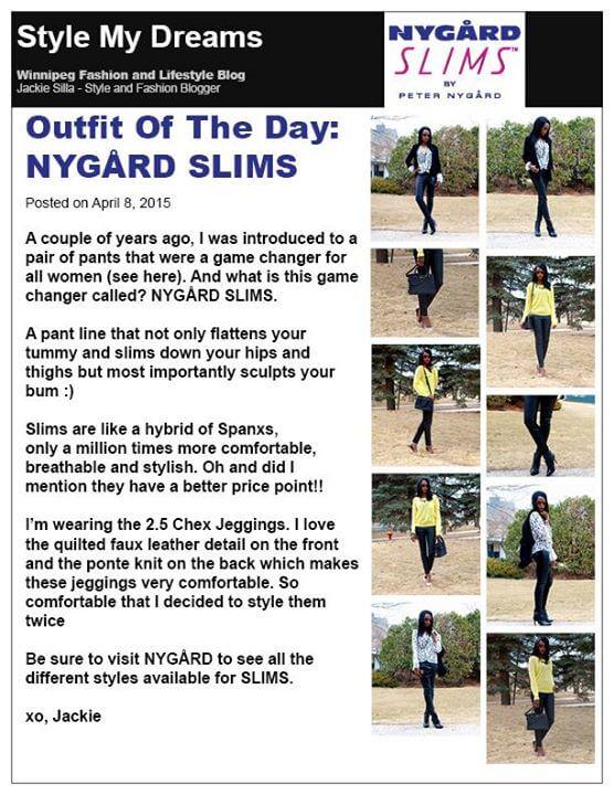 style my dreams, fashion blogger Jackie silla, winnipeg fashion blogger, Nygard slims, Facebook nygard slims