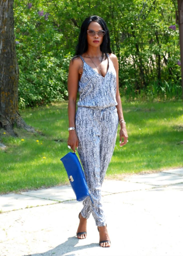 Splendid arrow print jumpsuit, body chain, style my dreams, winnipeg fashion blogger, splendid jumpsuit, jumpsuit, elliott lucca bags