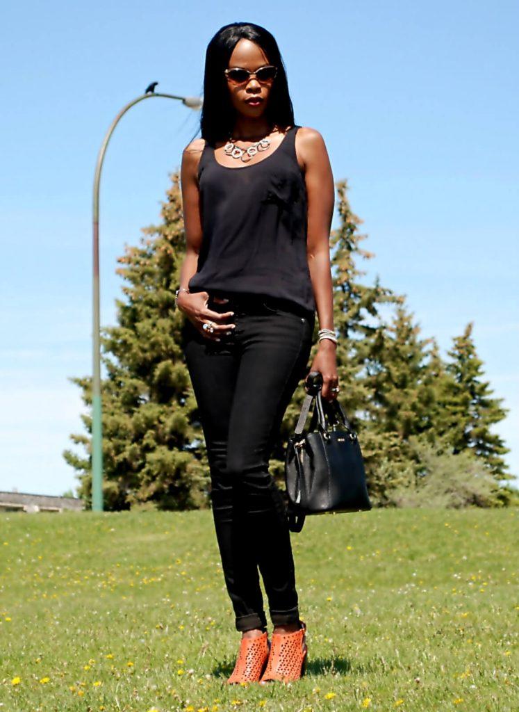 Black denim & orange heels 14