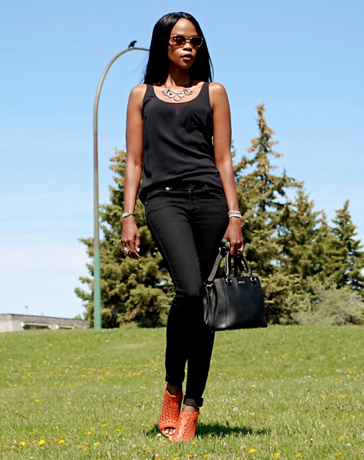 Black sandals old navy - 7 For All Mankind Skinny Denim Danier Leather Handbag Chunky Heels Old Navy