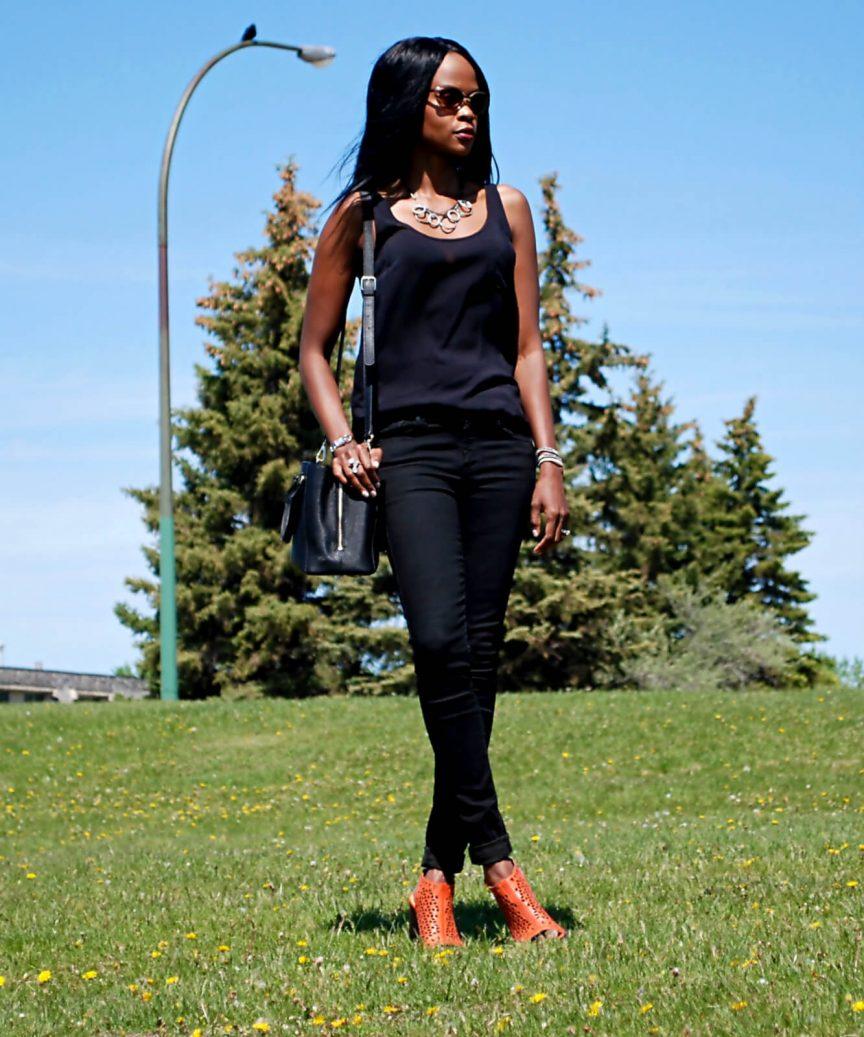 Wrap bracelet, Rebecca Minkoff desert sandals, 7 for all mankind skinny denim, Danier leather handbag, Chunky heels, Old Navy Tank top, Rebecca Minkoff sandals, black denim, nine west necklace, style my dreams, fashion blogger Jackie silla