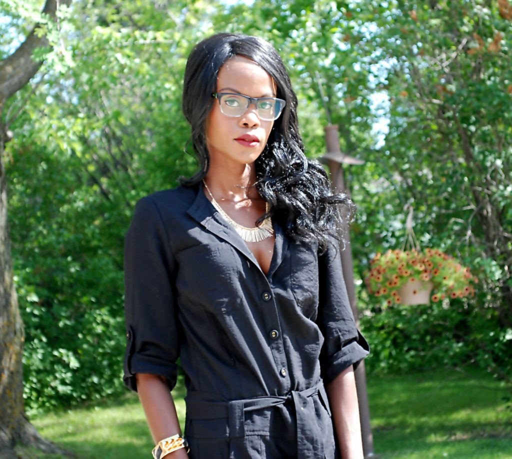 elliott lucca clutch, Romper, wedge sandals, Firmoo eyeglasses, twelfth street by cynthia vincent romper, all black outfit, style my dreams, winnipeg fashion blogger, how to wear all black