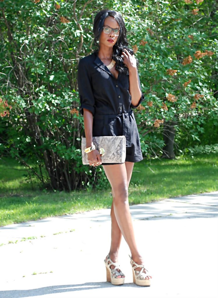 elliott lucca clutch, Romper, wedge sandals, Firmoo eyeglasses, twelfth street by cynthia vincent romper, all black outfit, style my dreams, winnipeg fashion blogger