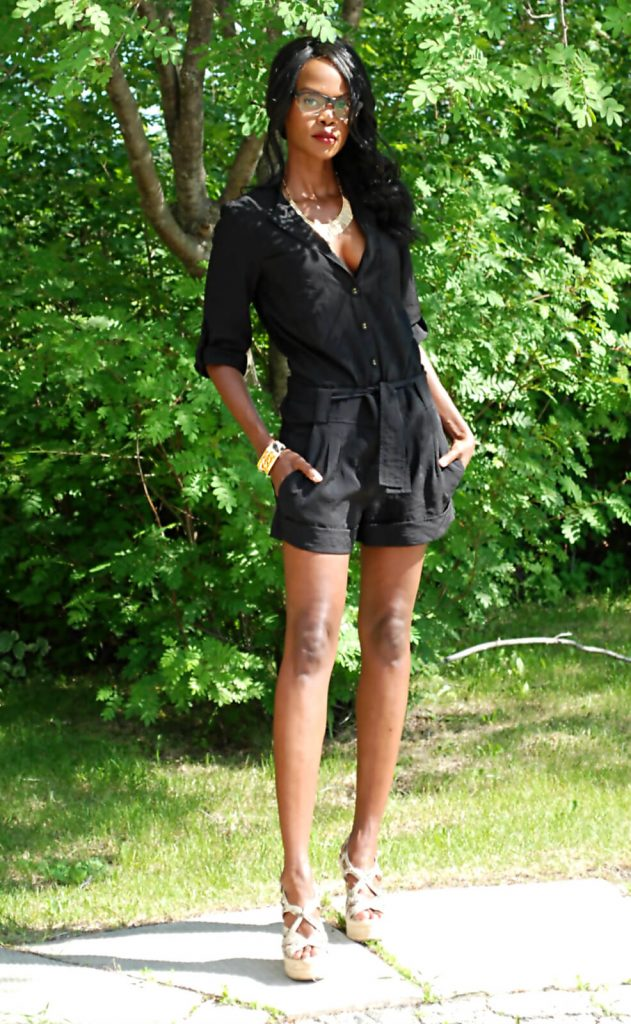 Romper, wedge sandals, Firmoo eyeglasses, twelfth street by cynthia vincent romper, all black outfit, style my dreams, winnipeg blogger