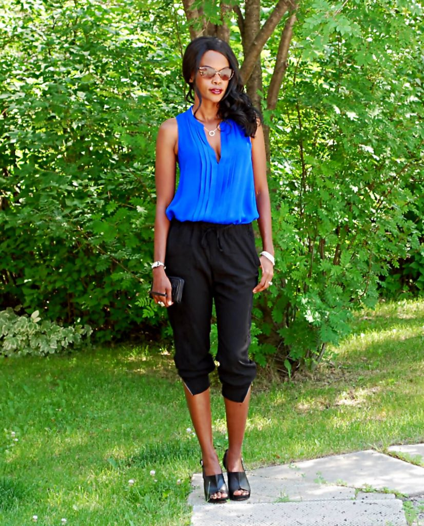 Coach wallet, coach sandals, coach heels, sleeveless tank top, splendid jogger pants, style my dreams blog, Winnipeg fashion blogger, athleisure trend, cobalt blue trend