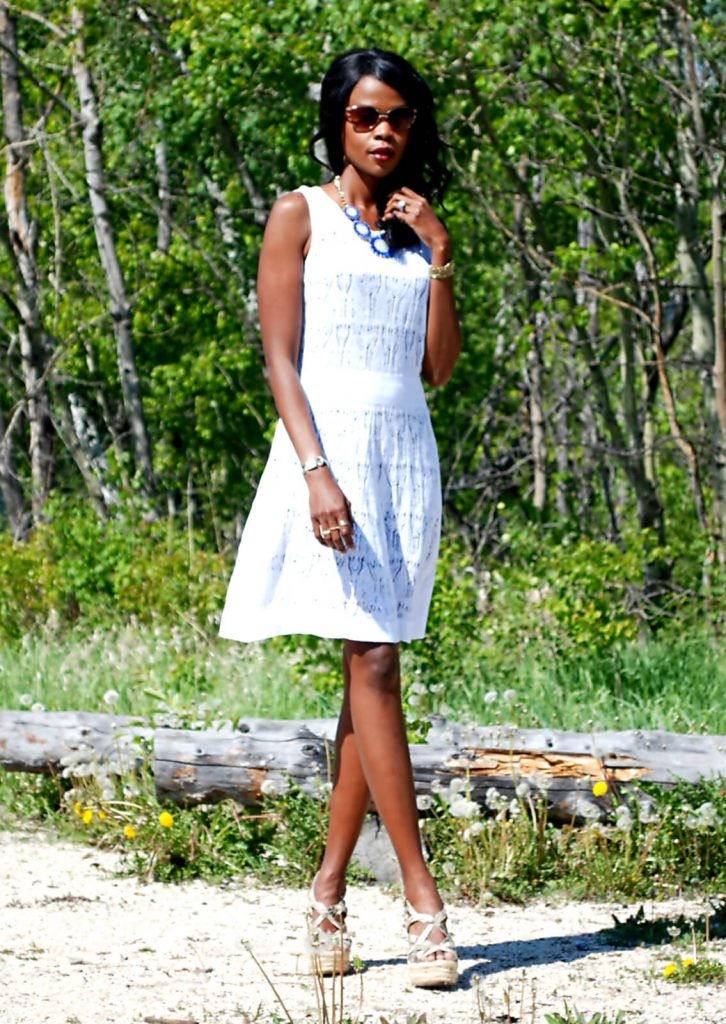 Vera wang white dress, summer dresses, wedge sandals, flower necklace, wrap bracelets, style my dreams blog, Winnipeg blogger, Jason Wu Clutch