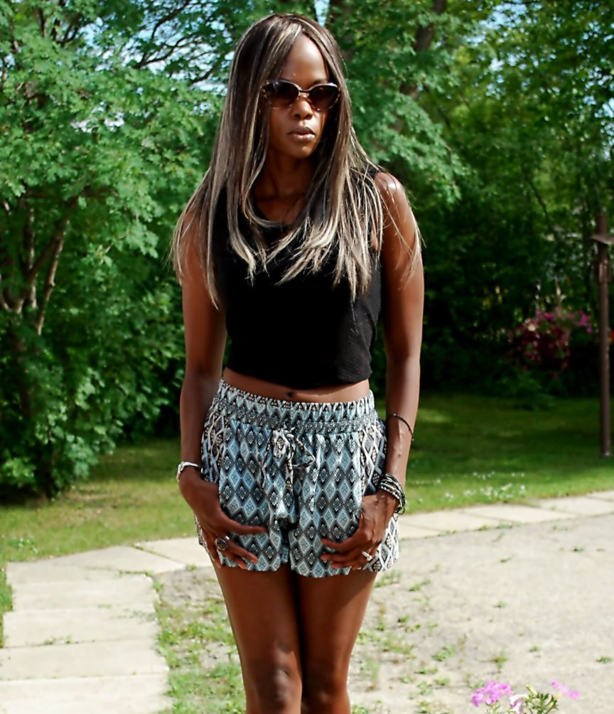 Mesh crop top, Crop Top - North Republic, Tribal printed shorts, Steve Madden sandals, Summer fashion, Style my dreams, Winnipeg fashion blogger, Crop Top Trend
