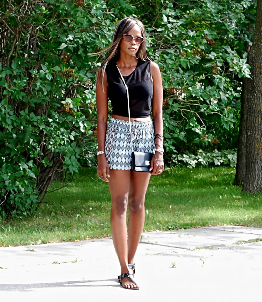 Crop Top - North Republic, Tribal printed shorts, Steve Madden sandals, Summer fashion, Style my dreams, Winnipeg fashion blogger, Crop Top Trend