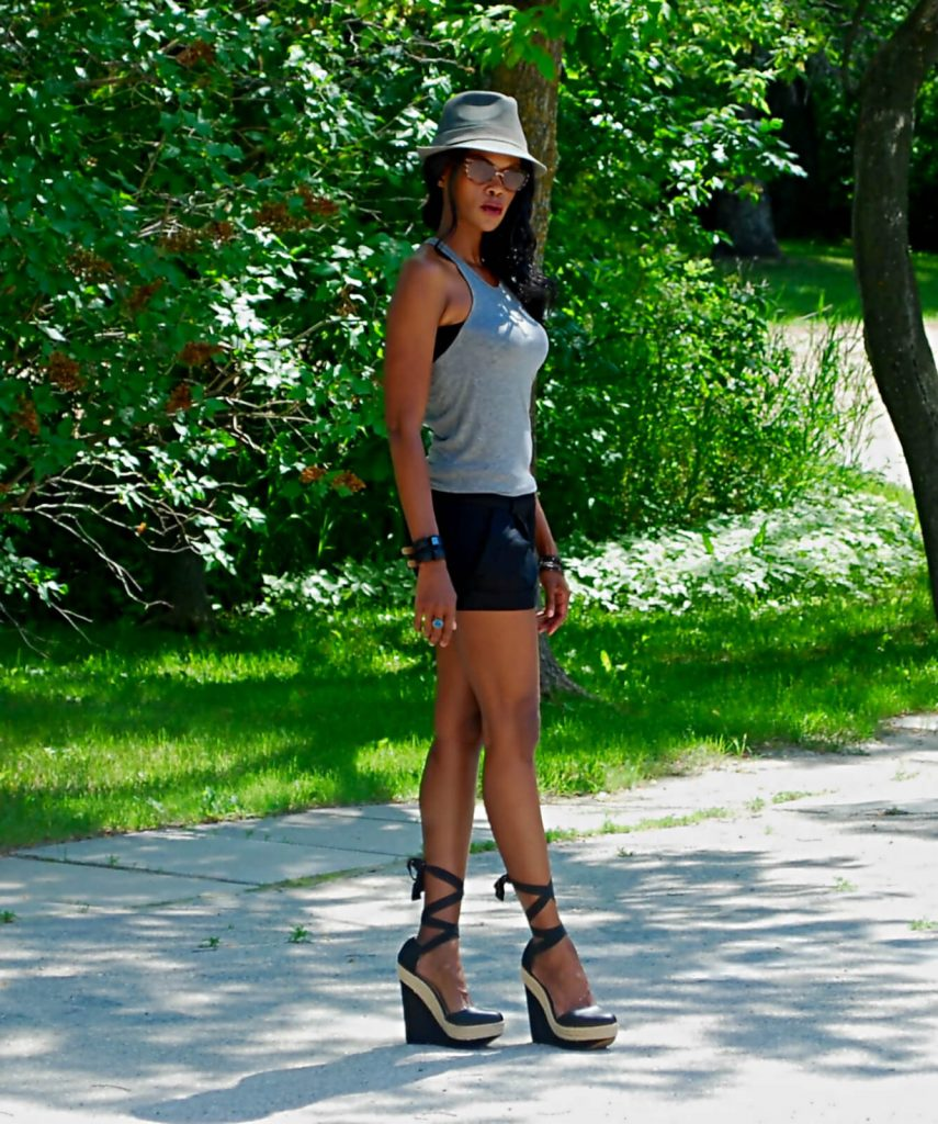 Kit & Ace Talia tank top, Technical Cashmere, Cashmere Tank top, Karl Lagerfeld Watch, Forever 21 shorts, Lace up sandals, fedora, style my dreams,  Athleisure
