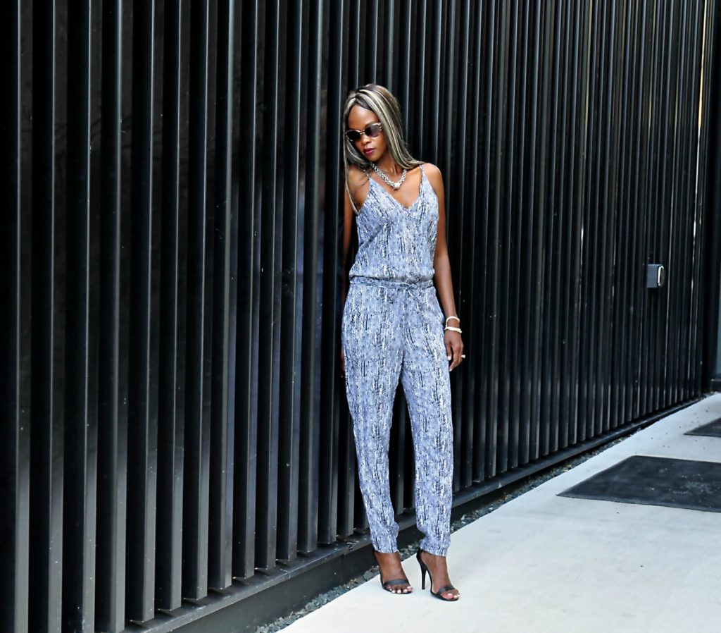 jumpsuit, splendid jumpsuit, printed jumpsuit, ankle strap heels, anne michelle black heels, style my dreams blog, winnipeg fashion, statement necklace, summer fashion, winnipeg fashion blogger, summer fashion
