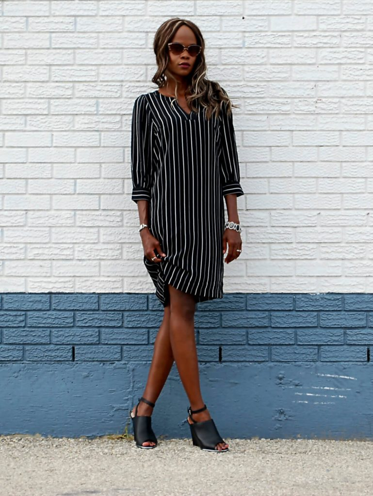 Shirt Dress, mules, summer fashion, black jason woo clutch, eShakti dress, Eshakti pin striped shirt dress, style my dreams blog, winnipeg fashion blogger , designer lab mules,