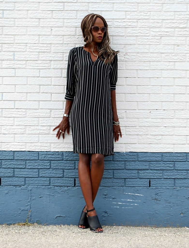Shirt Dress, mules, summer fashion, black jason woo clutch, eShakti dress, Eshakti pin striped shirt dress, style my dreams blog, winnipeg fashion blogger , design lab mules,