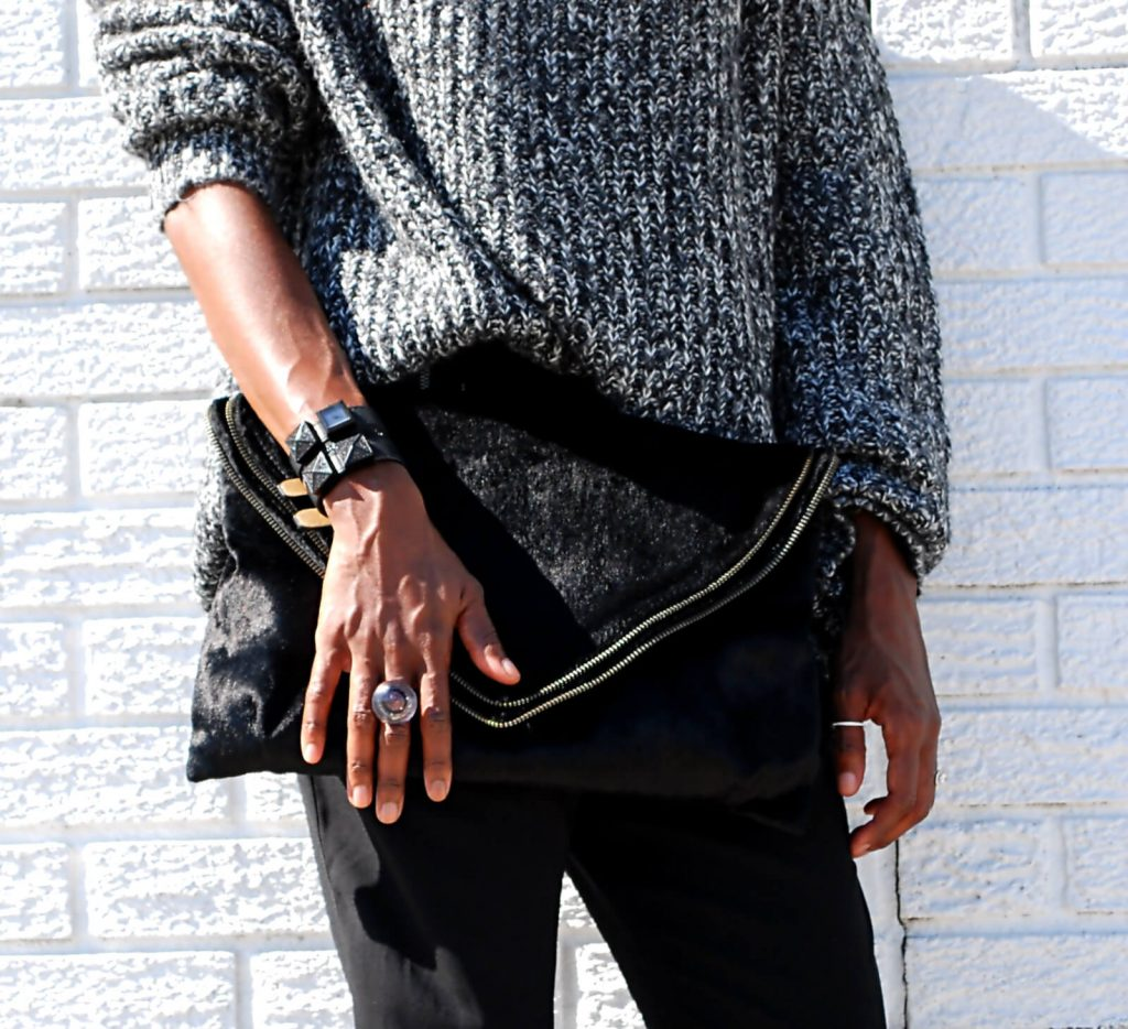 Oversized sweaters, slouchy pants, nine west black heels, matt & nat envelope bag, joe fresh slouchy sweater, style my dreams blog, winnipeg fashion blogger, Karl Lagerfeld watch, stella & dot silver ring