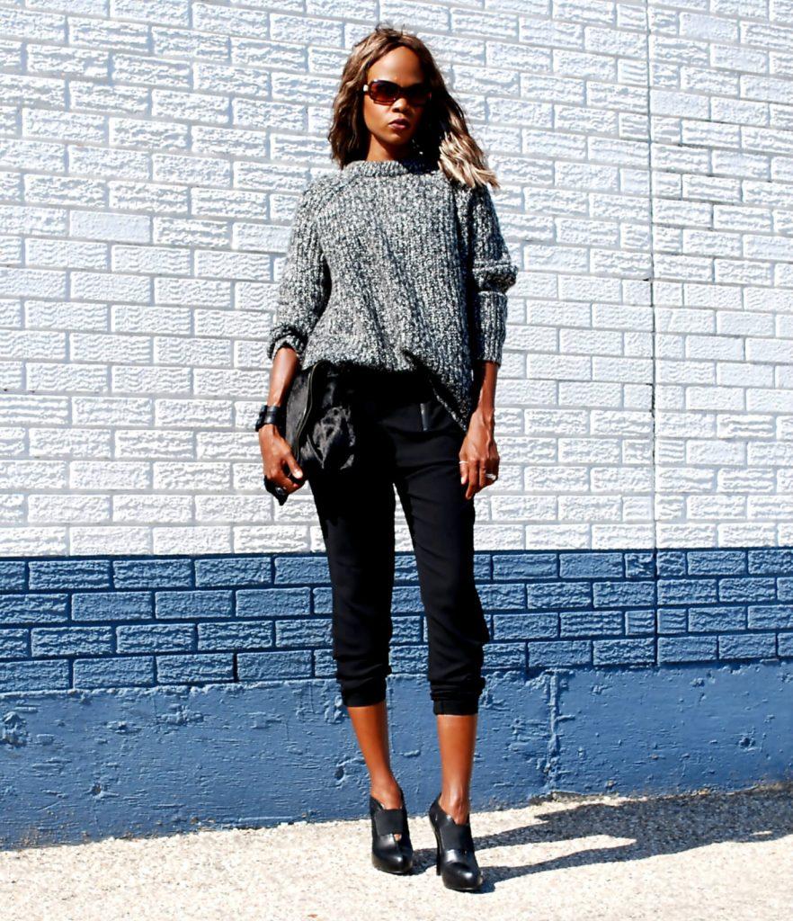 Oversized sweaters, slouchy pants, nine west black heels, matt & nat envelope bag, joe fresh slouchy sweater, style my dreams blog, winnipeg fashion blogger, Karl Lagerfeld watch, stella & dot silver ring