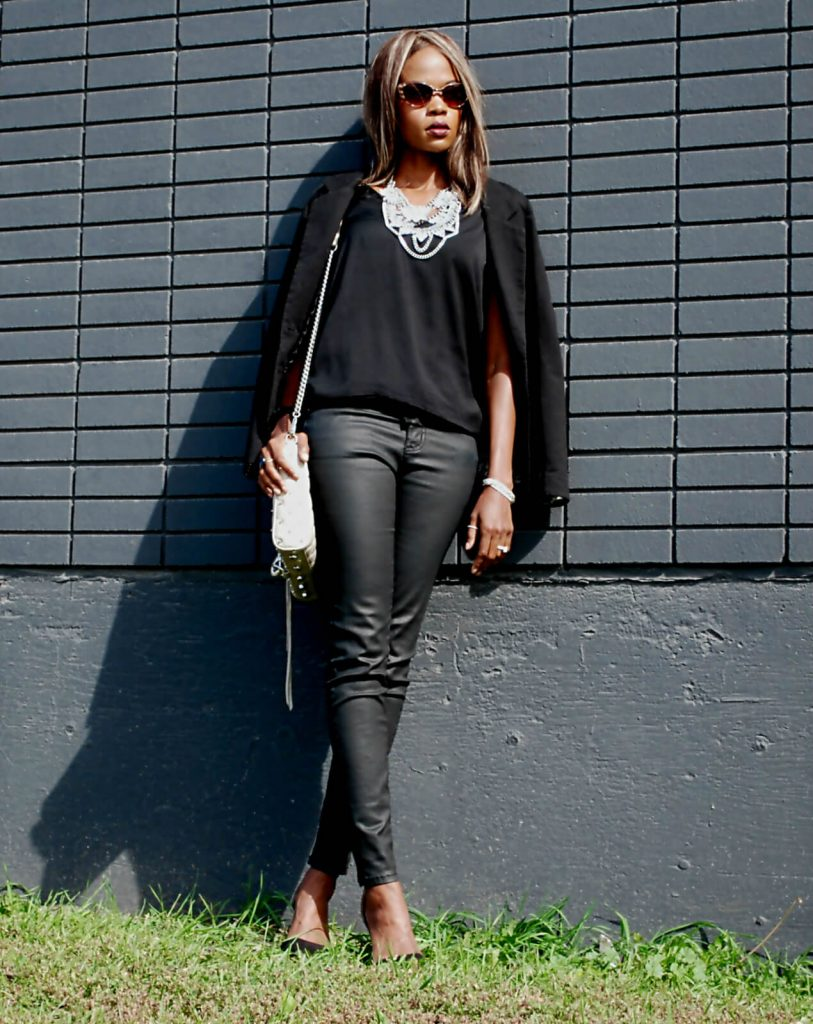 Happiness Boutique statement necklace, Joe fresh black top, Current/Elliott coated denim, zara ankle strap heels, Rebecca Minkoff Mac bag, crystal statement necklace, style my dreams blog, winnipeg fashion blogger