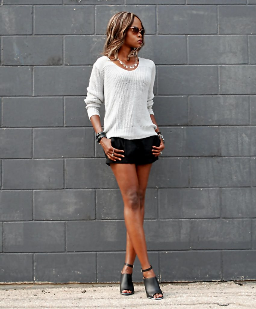 Joie sweater, black forever 21 shorts, mules, design lab mules, karl lagerfeld watch, style my dreams blog, winnipeg fashion blogger, stella and dot rings, lia sophia silver necklace, Pour La Victoria clutch