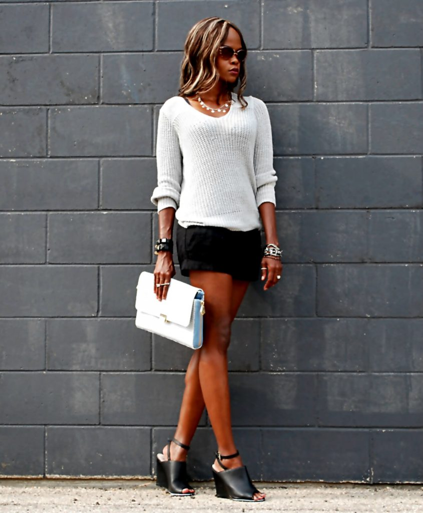 Joie sweater, black forever 21 shorts, mules, design lab mules, karl lagerfeld watch, style my dreams blog, winnipeg fashion blogger, stella and dot rings, lia sophia silver necklace, Pour La Victoire clutch