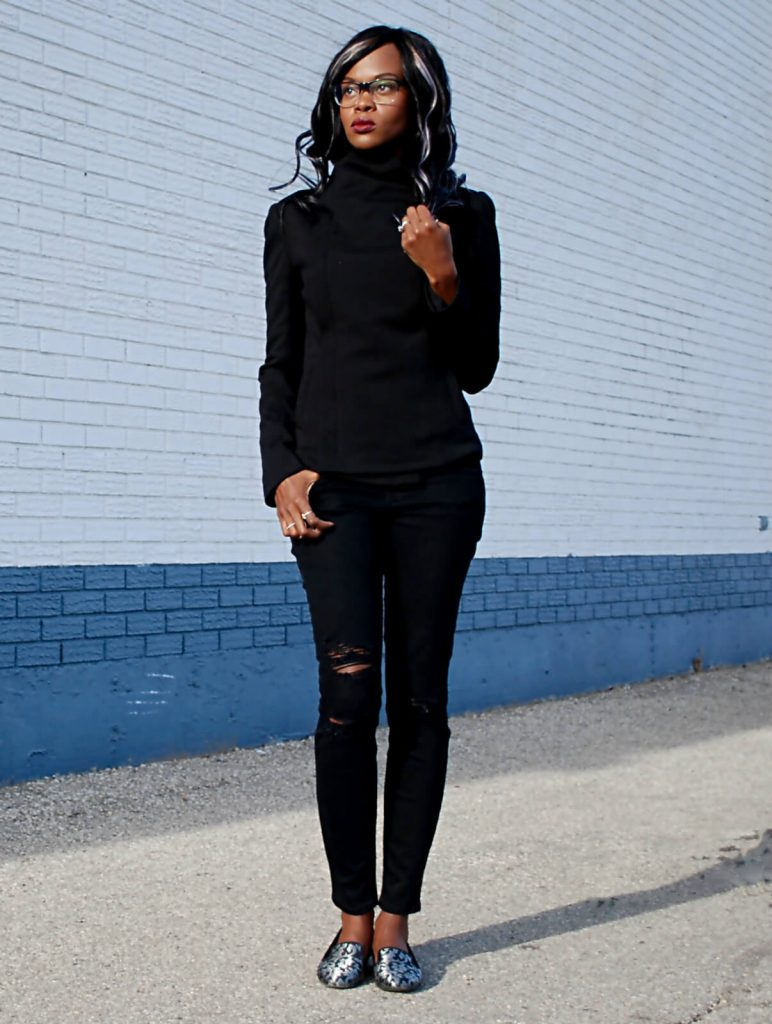 Bailey 44 jacket, black moto jacket, ripped denim, distressed denim, Current /elliott Stiletto jeans, nine west flat shoes, style my dreams blog, winnipeg fashion blogger, how to wear all black
