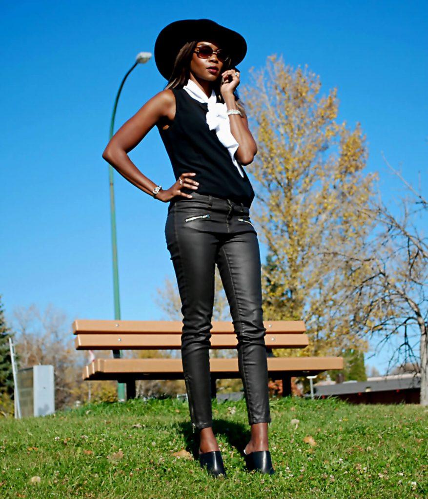 tie-neck blouse, bow blouse, neck tie blouse, floppy hat, current elliott soho zip stiletto, black mules, 70's style, style my dreams, winnipeg fashion blogger, bb dakota black blazer, 70's trend