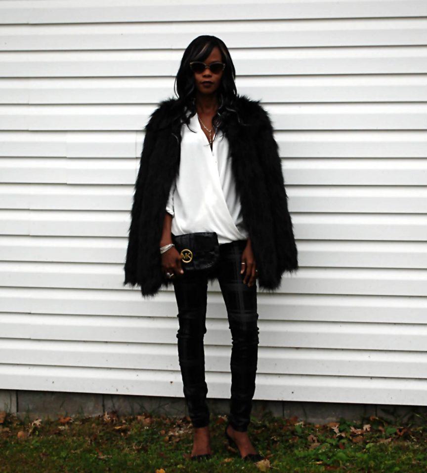 Black faux fur coat, black faux fur jacket, white flowy top, faux fur, faux fur coat, black and white outfit, ootd, style my dreams blog, winnipeg fashion blogger, Michael Kors black bag, plaid denim