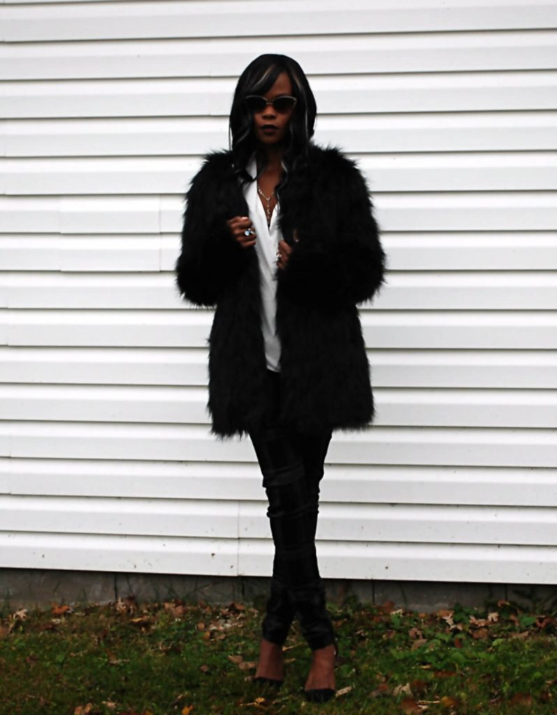 Style My Dreams Blog, Winnipeg Fashion Blogger, Faux fur coat, Faux Fur Jacket, White wrap around top, 7 for all mankind black denim, black plaid denim, Michael Kors, Michael Kors black clutch