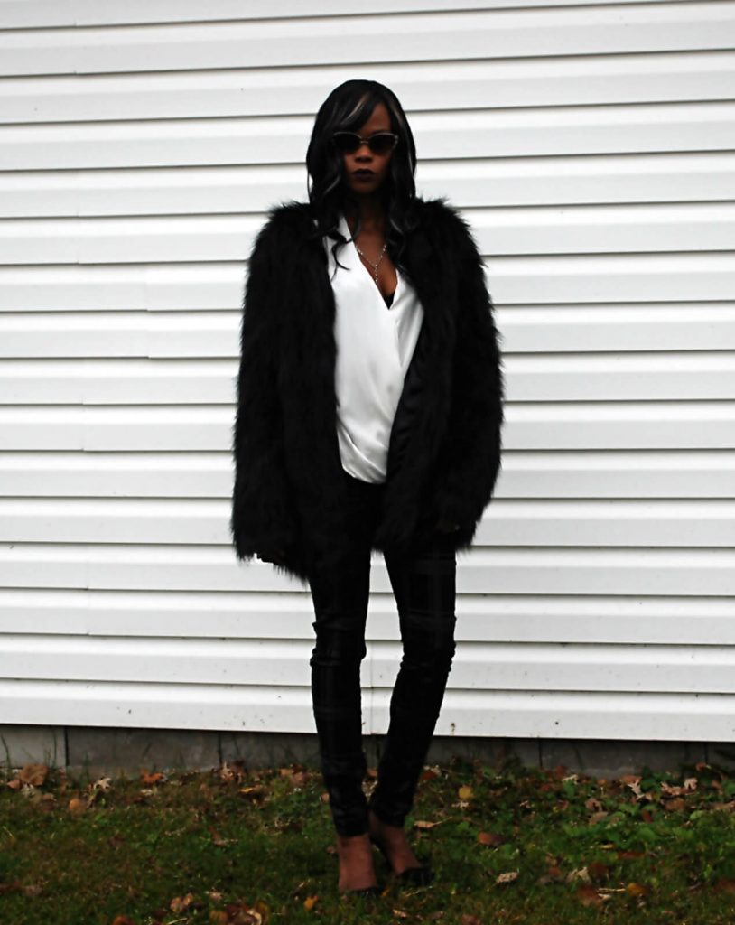 Style My Dreams Blog, Winnipeg Fashion Blogger, Faux fur coat, Faux Fur Jacket, White wrap top, 7 for all mankind black denim, black plaid denim, Michael Kors, Michael Kors black clutch