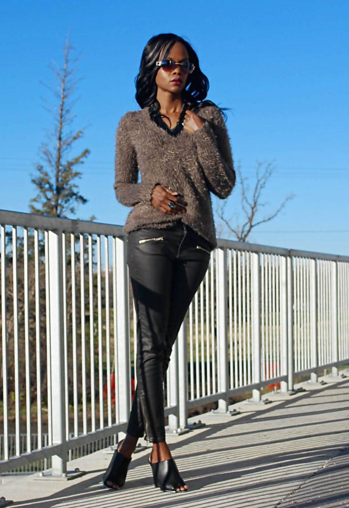 Style my dreams blog, joe fresh textured sweater, current/elliott stiletto jean, current/elliott coated denim, coated denim, sweater, chunky sweater, black mules, winnipeg fashion blogger, Design Lab Shoes