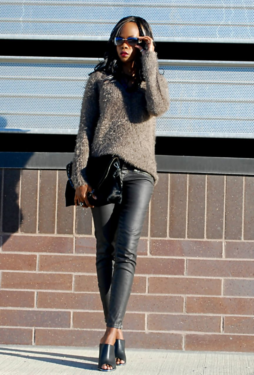 Style my dreams blog, joe fresh textured sweater, current/elliott stiletto jean, current/elliott coated denim, coated denim, sweater, chunky sweater, black mules, winnipeg fashion blogger