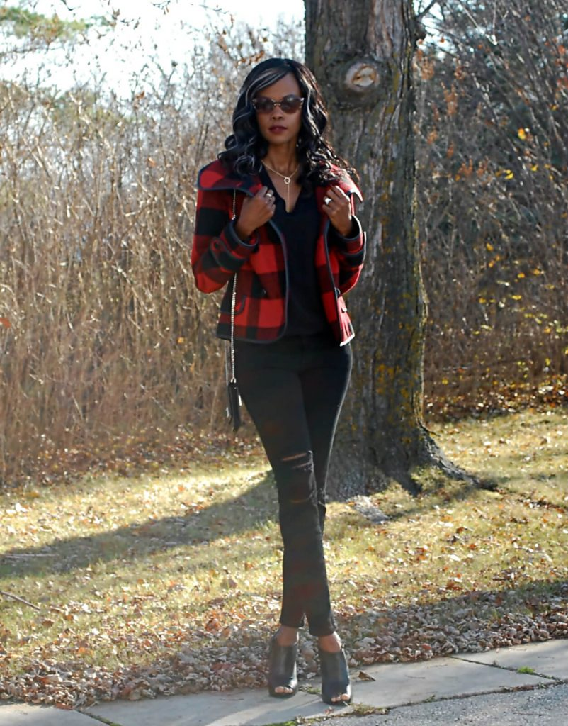 Buffalo check, Buffalo check red jacket, ripped denim, current/elliott ripped denim, distressed denim, ralph lauren cross body bag, style my dreams blog, winnipeg fashion blogger, peep toe ankle booties, Kensie red buffalo check plaid jacket,