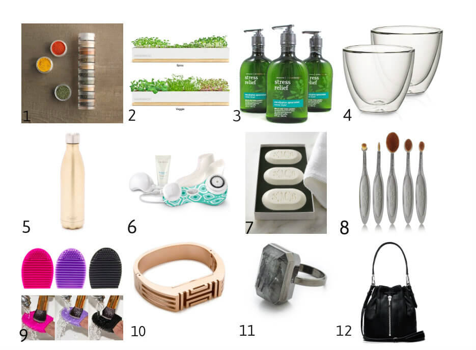 Gift guide ideas, christmas shopping, tory burch fit bit, Ringly Smart Ring, elizabeth and james bucket bag, black bucket bag, make up brushes, clarisonic mis 2, swell bottle, soap sets