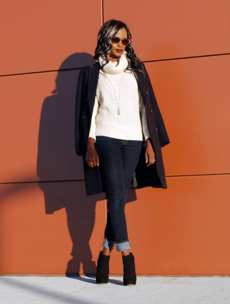 Fall coat trend 2015, Duster coat, wool coat, Eryn Brinié coat, cuffed deim, cuffed jeans, oversized sweater, gap denim, joe fresh sweater, chunky knit, African blogger, Canadian blogger, Winnipeg fashion blogger, vince camuto booties, style my dreams blog