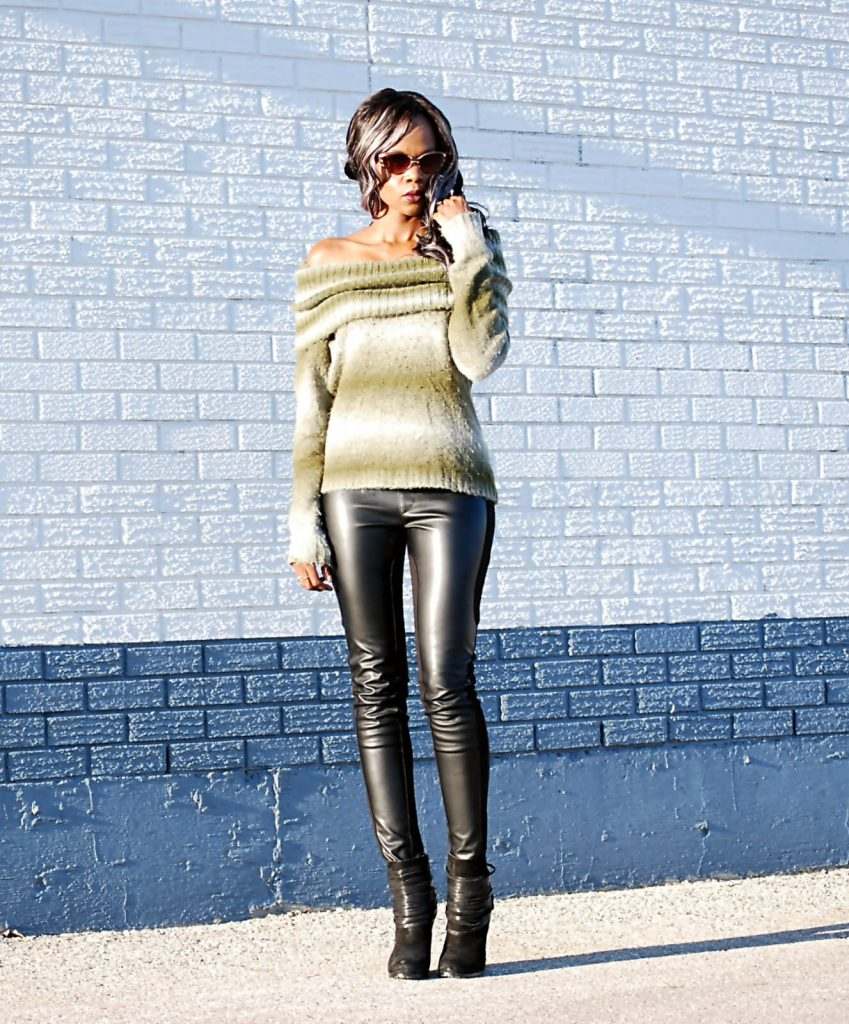 Winners find, off the shoulder top, leather leggings, fringe booties, fall trends, off the shoulder sweaters, rebecca minkoff mac clutch, style my dreams blog, winnipeg blogger