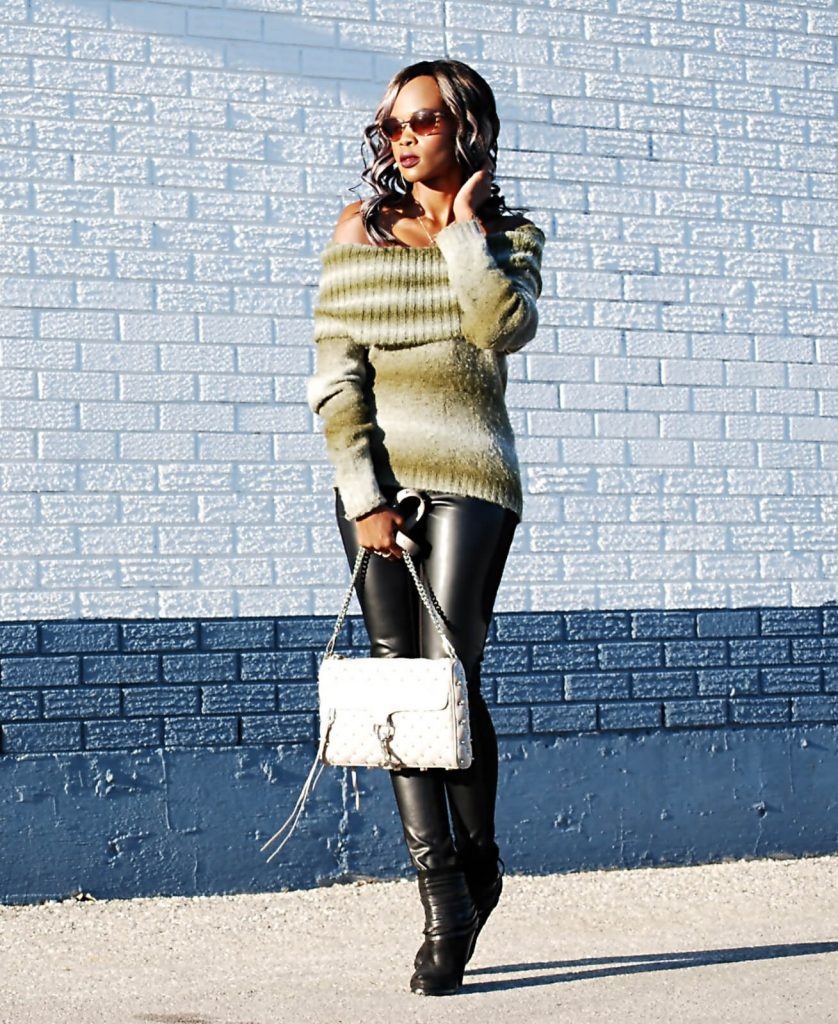 Winner's find, off the shoulder top, leather leggings, fringe booties, fall trends, off the shoulder sweaters, rebecca minkoff mac clutch, style my dreams blog, winnipeg blogger