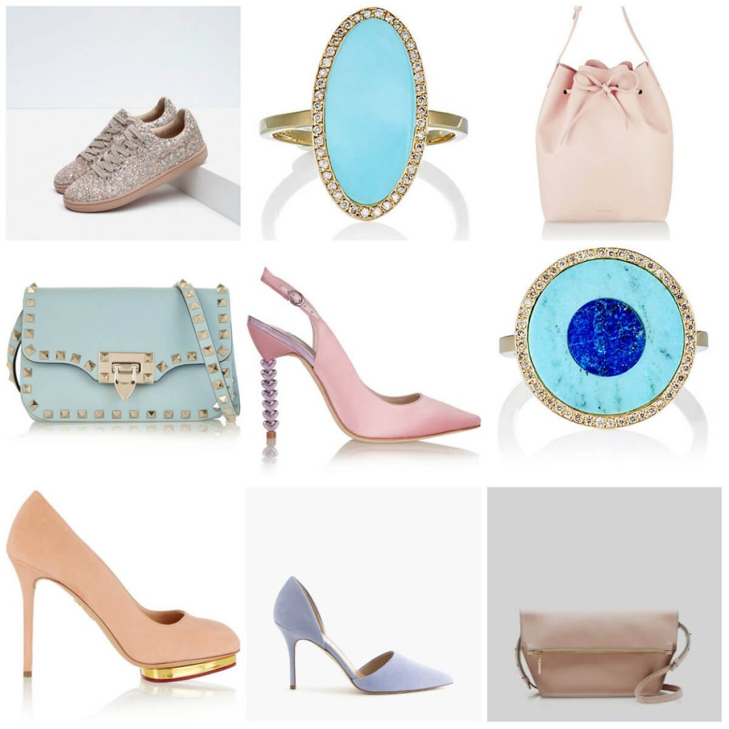 pantone color of the year 2016 rose quartz and serenity, valentino rocketed bag, turquoise ring, mansur gavriel bucket bag, pink runners, j crew pink bag, stylemydreams