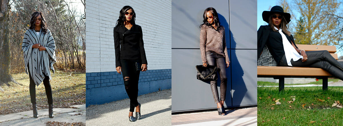 winnipeg fashion blogger, style my dreams blog, coated denim, ripped current elliott denim, tie neck blouse, all black outfit, outfit of the day
