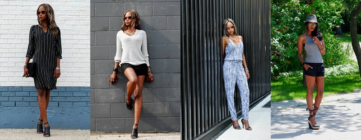 winnipeg fashion blogger, style my dreams blog, jumpsuit trend, splendid printed jumpsuit, black mules, kit and ace tank top, pinstripe dress, summer fashion