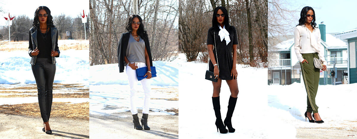 outfits, outfit of the day, tie neck blouse, layering, green jogger pants, sporty pants, athleisure, white denim, knee high boots, winnipeg fashion blogger, style my dreams blog, all black outfit,