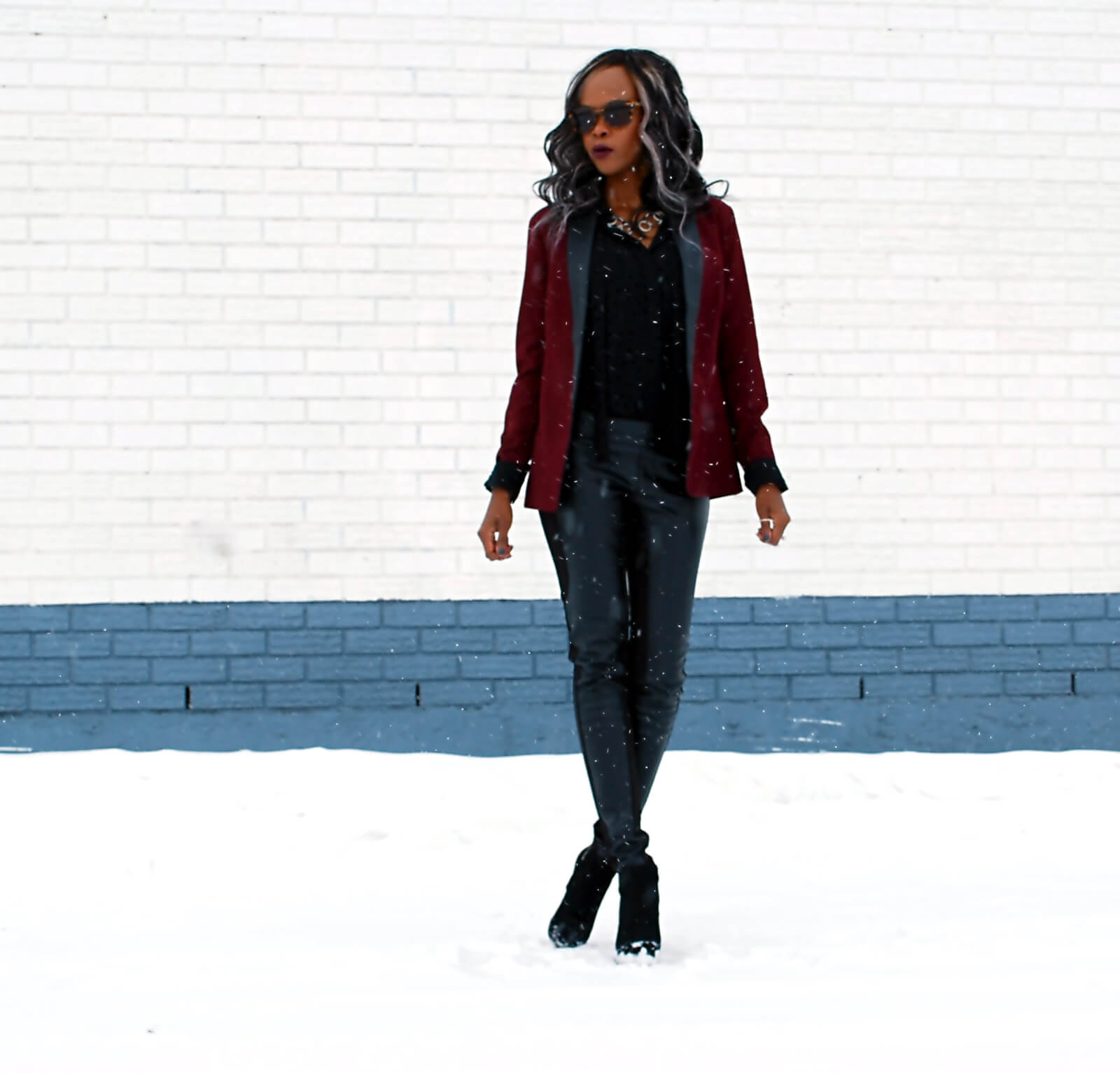 Burgundy blazer, BB Dakota Blazer, Leather legging, Joe fresh black button up, Tie Neck top, black booties, Vince Camuto booties, style my dreams blog, Winnipeg fashion blogger, african blogger