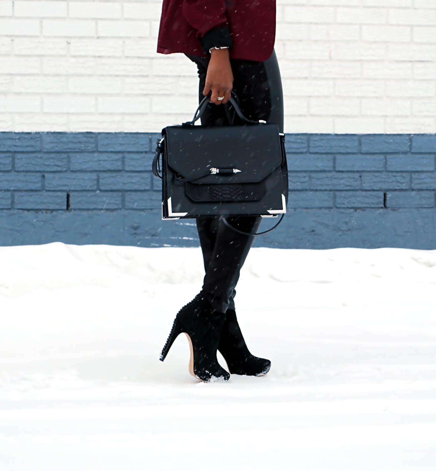 Burgundy blazer, BB Dakota Blazer, Leather legging, Joe fresh black button up, black booties, Vince Camuto booties, Mackage Jori satchel bag, Winnipeg fashion blogger, african blogger