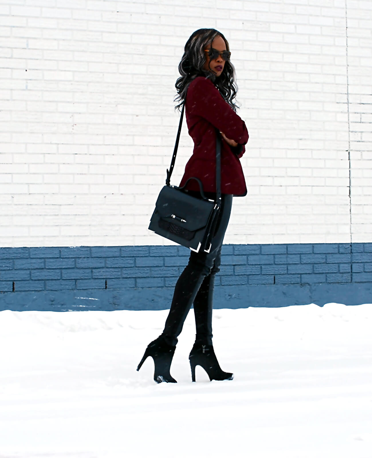 Burgundy blazer, BB Dakota Blazer, Leather legging, Joe fresh black button up, Tie Neck top, black booties, Vince Camuto booties, style my dreams blog, Winnipeg fashion blogger, african blogger, Mackage purse, Mackage Jori satchel bag