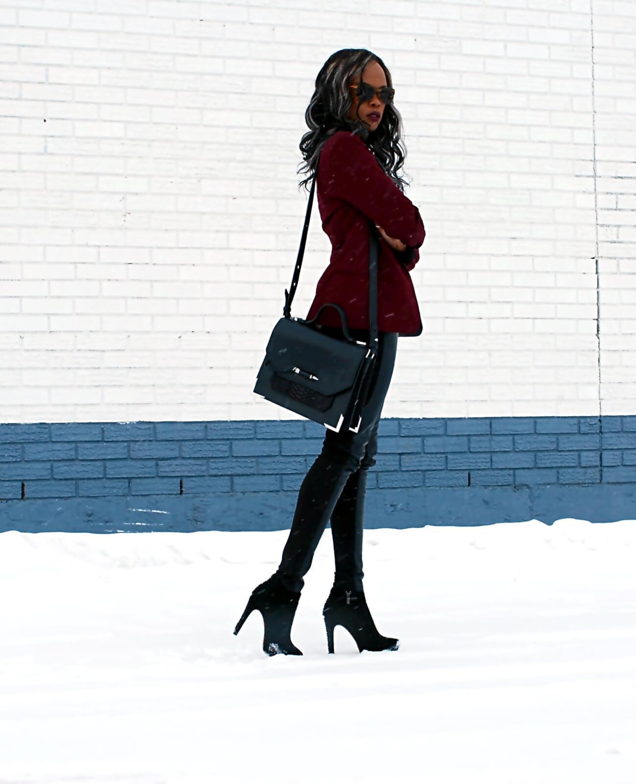 Burgundy blazer, BB Dakota Blazer, Leather legging, Joe fresh black button up, Tie Neck top, black booties, Vince Camuto booties, style my dreams blog, Winnipeg fashion blogger, african blogger, Mackage purse, Mackage Jori satchel bag