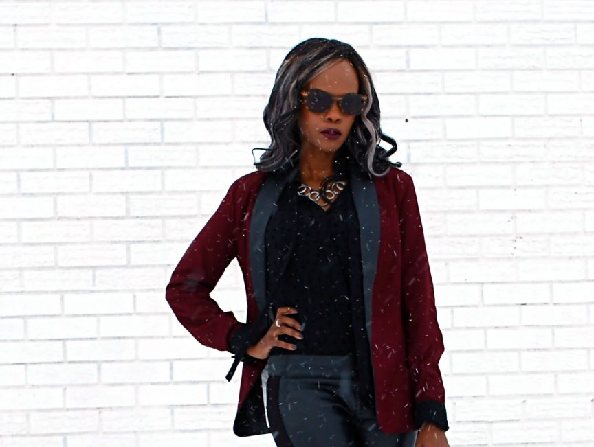 BB Dakota blazer, Burgundy blazer, leather leggings, joe fresh black button up, tie neck blouse, style my dreams blog, winnipeg fashion blogger