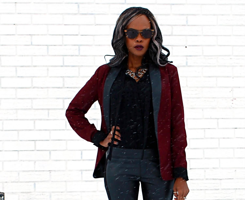 Burgundy blazer, BB Dakota Blazer, Leather legging, Joe fresh black button up, Tie Neck top, style my dreams blog, Winnipeg fashion blogger, african blogger