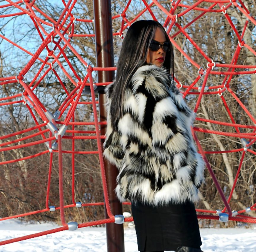 Faux fur coat, H&M faux fur coat, irresistible me hair extensions, remy hair, winnipeg fashion blogger, steve madden over the knee boots, style my dreams blog,