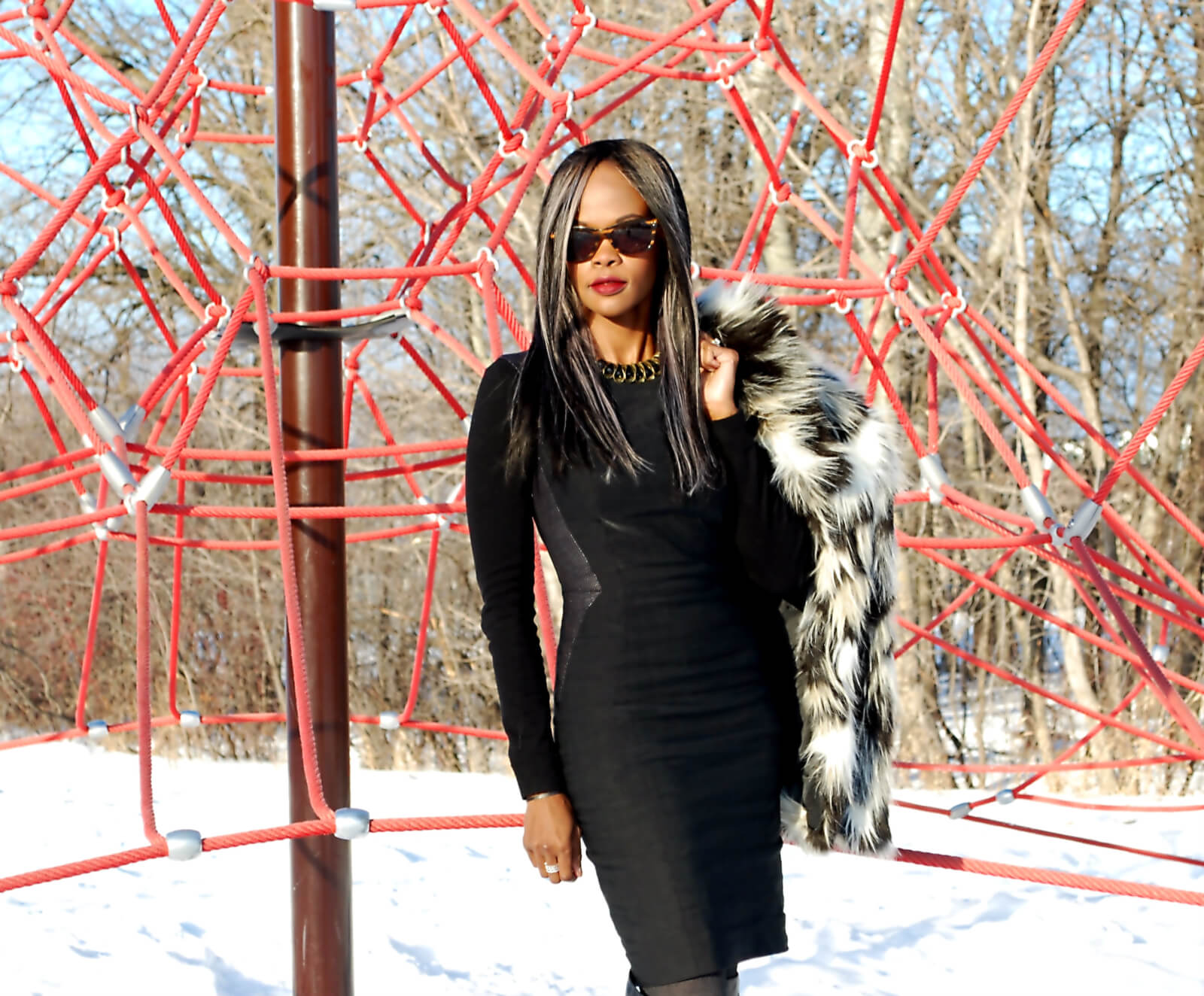Faux fur coat, H&M faux fur black and white coat, irresistible me hair extensions, remy hair, winnipeg fashion blogger, steve madden over the knee boots, style my dreams blog, black sheath dress, Judith & Charles sheath dress