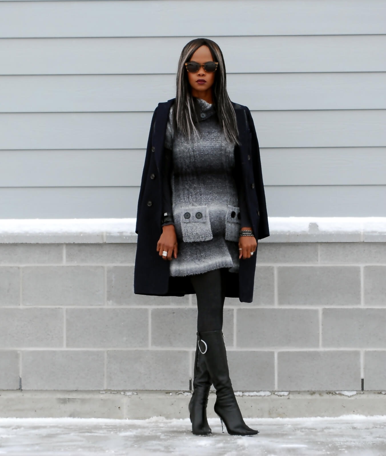 Hue tights, Duster coat, navy wool jacket, sweater dress, ombre sweater dress, Winnipeg fashion blogger, aldo leather boot, chrome heel boots, style my dreams blog, winter trends,
