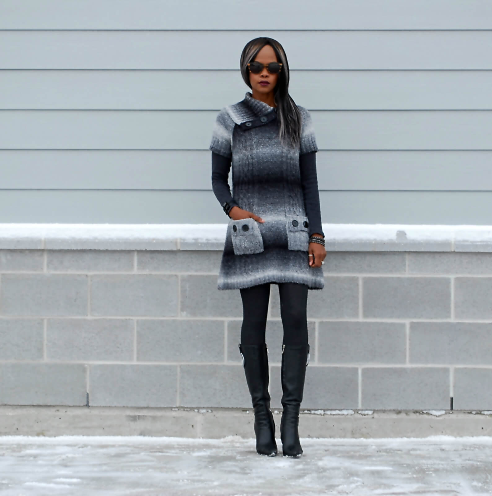 Hue tights, winnipeg fashion blogger, sweater dress, ombre sweater dress, leather boots, aldo leather boots, chrome heel boots, style my dreams blog, winter trends