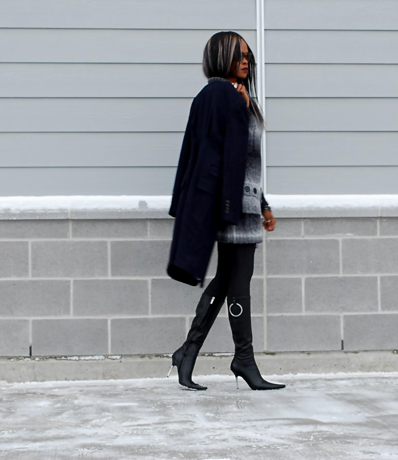 Hue tights, Duster coat, navy wool jacket, sweater dress, ombre sweater dress, Winnipeg fashion blogger, aldo leather boots, stiletto heel boots, chrome heel boots, style my dreams blog, winter trends 2015