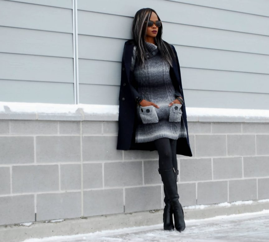 Aldo leather boots, style my dreams blog, sweater dress, leather stiletto boot, duster coat, wool coat, leather boots