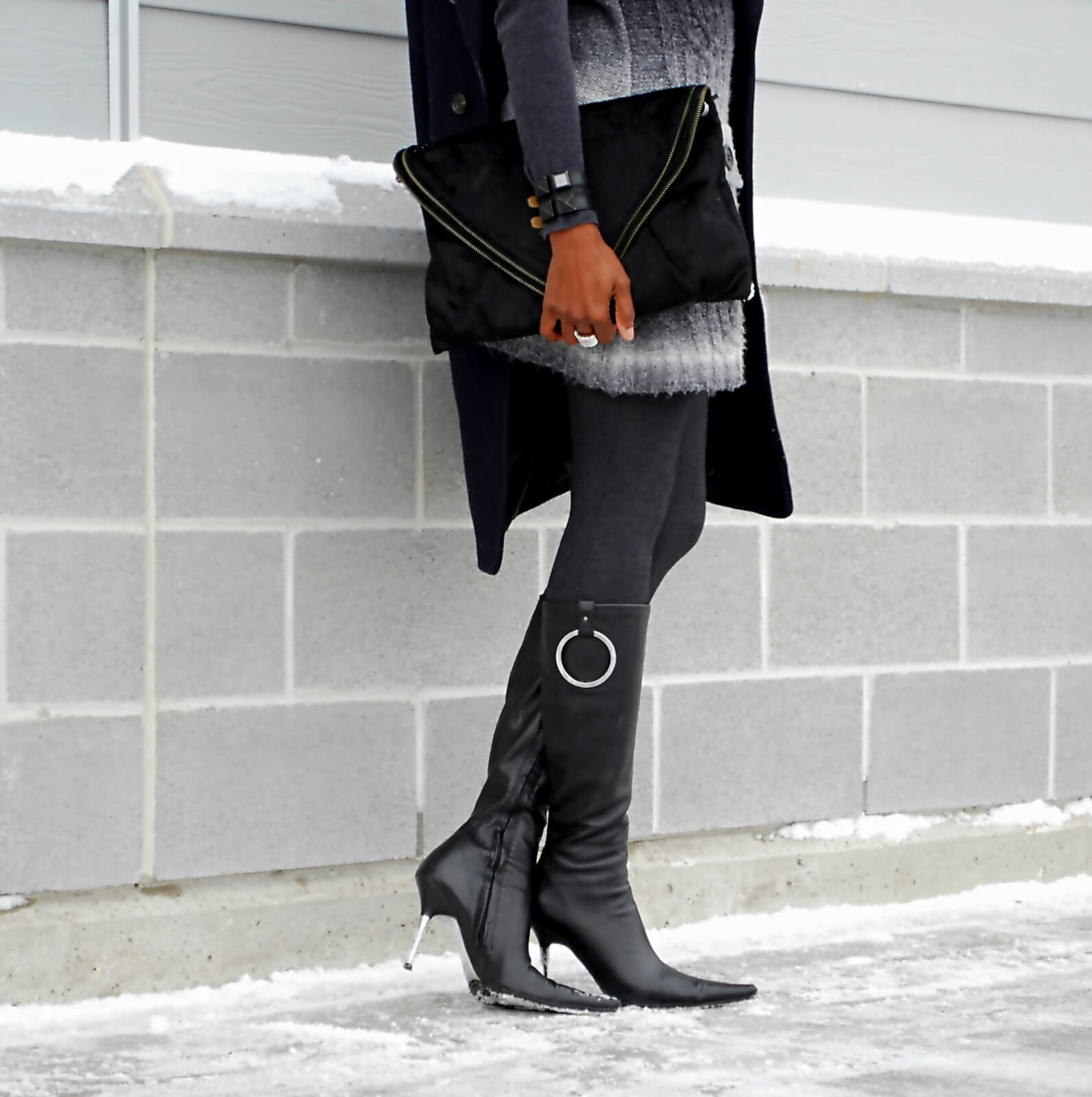 Navy duster coat,Matt and Nat bag, Aldo leather boots, chrome heel leather boots, hue tights, sweater dress, winter fashion trend 2015, winnipeg fashion blogger, Karl Lagerfeld watch, fashion